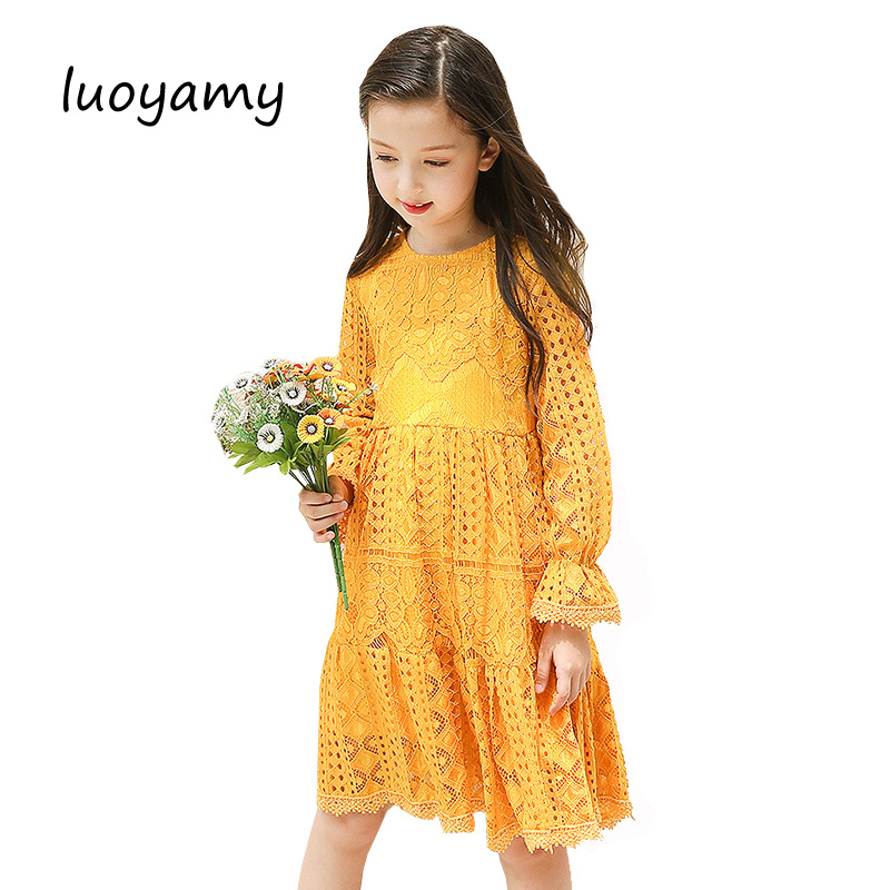 2017 New Autumn Baby Yellow Lace Dress Girls Bohemian Mesh School Dress Children Wedding Kids Clothing Princess Beach Dresses children s girls autumn long sleeved korean lace princess dress kids clothing mesh lace white