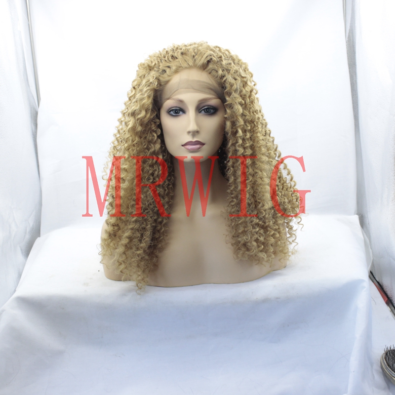 MRWIG #27 blonde natural looking real hair afro kinky curly glueless front wig for woman 16-26inch 180% high density cosplay