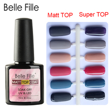 Belle Fille Opaca Top Coat Trasparente per unghie Gel UV Soak Off Opaca Top Coat più French Nail Art Design Super Bling Gel