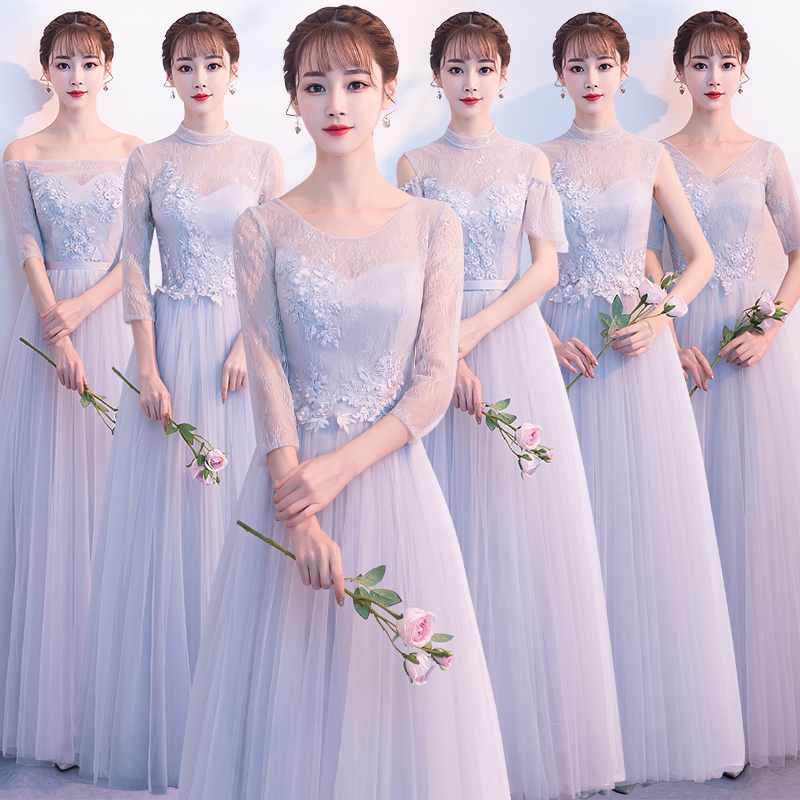 2018new stock plus size women pregnant wedding party   Bridesmaid     Dresses   backless lace sexy romantic A line grey cheap   dress   JYX