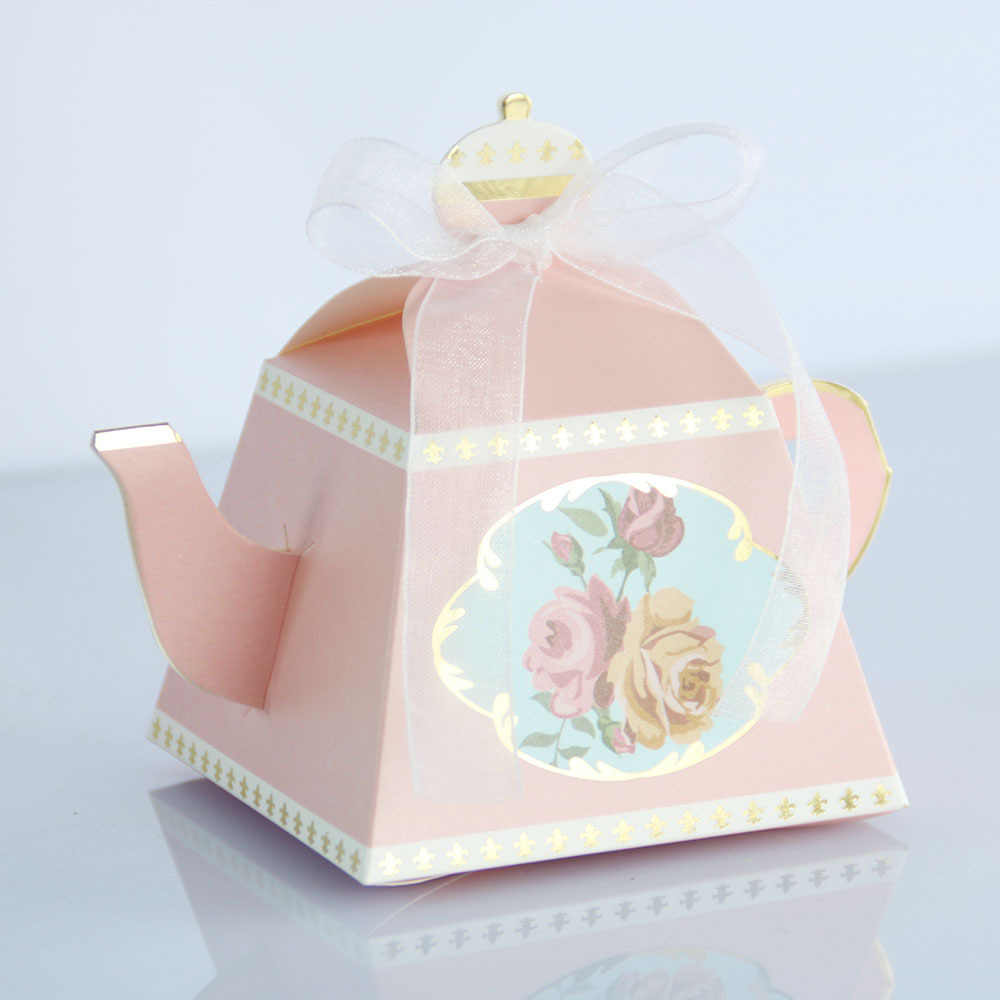 100/50 PCS Royal Teapot Wedding Gift Candy Box Baby Shower Favors Gift Paper Boxes Kids Birthday Party Supplies Pink Blue Red