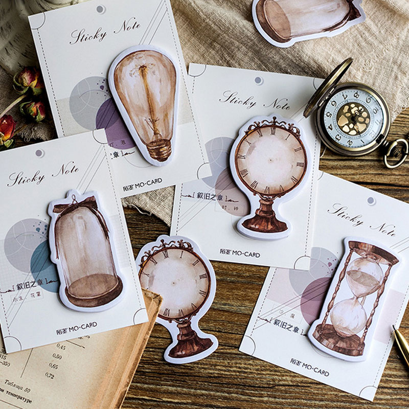 4 pcs/lot Vintage clock hourglass light bulb memo pad paper sticky notes post notepad stationery papeleria school supplies