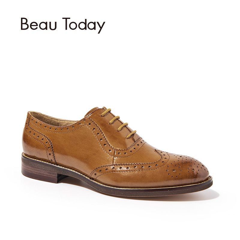 BeauToday Wingtip Oxfords Women Genuine Leather Flats Fashion Lace-Up Pointed Toe Calfskin Ladies Brogue Shoes with Box 21094 33 45 size women genuine leather oxford shoes fashion round toe lace up flat ladies england style brogue oxfords for women d005