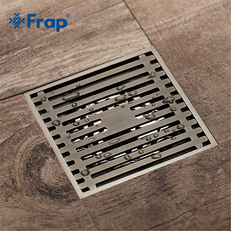 FRAP New Chinese Style Stripe Floor Drain Drains Cover Shower Floor Drains Deodorant All Copper Waste Drainer Floor Drain Y38060 a1 all copper deodorant stainless steel floor drain screen washing machine floor drain lu52511