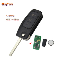 OkeyTech Remote Car Key For Ford Fusion Focus Mondeo Fiesta Galaxy 315 433 MHz 4D63 Chip