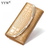 الأعمال التمساح المرأة محفظة محفظة المرأة الفاصل حقيبة جلدية الذهب مع حجر الراين الأسود طويل محافظ 6 ألوان للبيع بالجملة