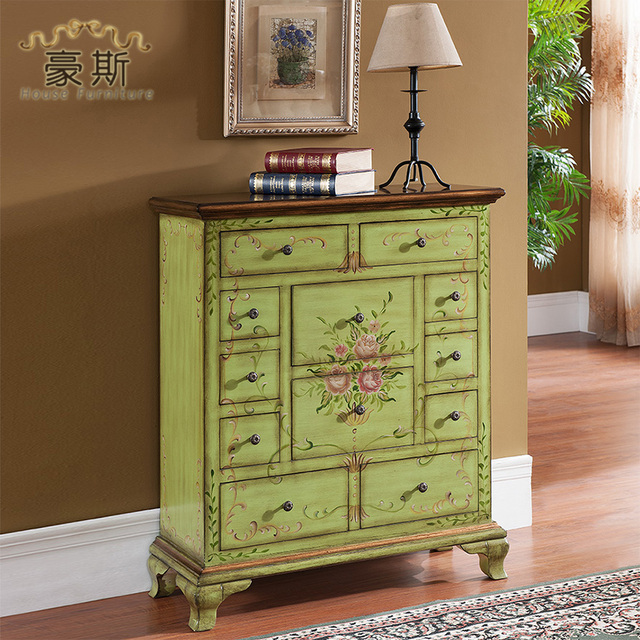 House Furniture Hand Painted Wood Entrance Cabinet Drawer Storage Cabinets Lockers Specials New Wine