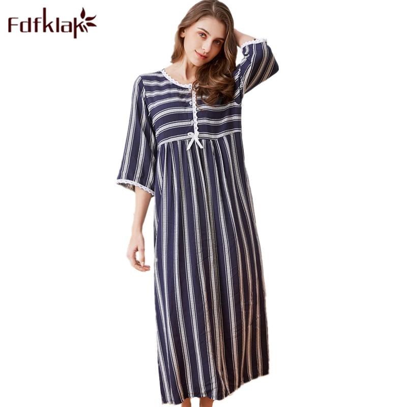 Detail Feedback Questions about Fdfklak Spring Summer Nightgown Cotton  Sleeping Dress Women Night Dress Sleepwear Long Nightgowns For Women Plus  Size M XXL ... 77bb934d0