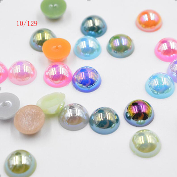 FLTMRH 10pcs 14mm AB half ABS Imi tation Pearl Round DIY Hole Beads Wholesale Plastic Ball Wedding Beaded For Kids Jewelry Mak image