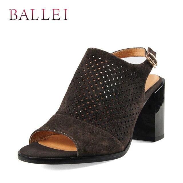 BALLEI קלאסי אישה אופנה סנדלי יוקרה פרה זמש רך כיכר העקב בוהן ציוץ חזרה רצועת נעלי מוצק אופנה רטרו סנדל s108