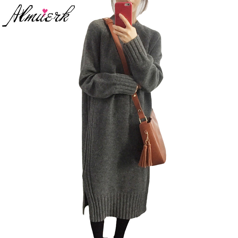 Autumn Winter Women Knitted Dress 2018 Loose Vintage Party Dresses Fashion Long-sleeved Sweater Vestidos Woman Clothes Yz483