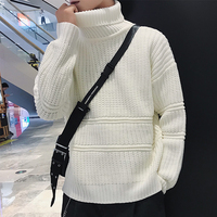2018 Autumn Winter New Turtleneck Sweater Men Black White Knitted Pullovers Men High Double Collar Warm Casual Knitwear Clothing