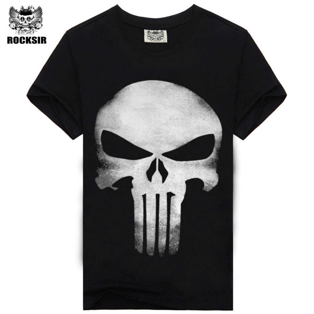 Rocksir punisher camisetas para los hombres camiseta de Algodón de moda marca t shirt men Casual Manga Corta the punisher Camiseta hombres
