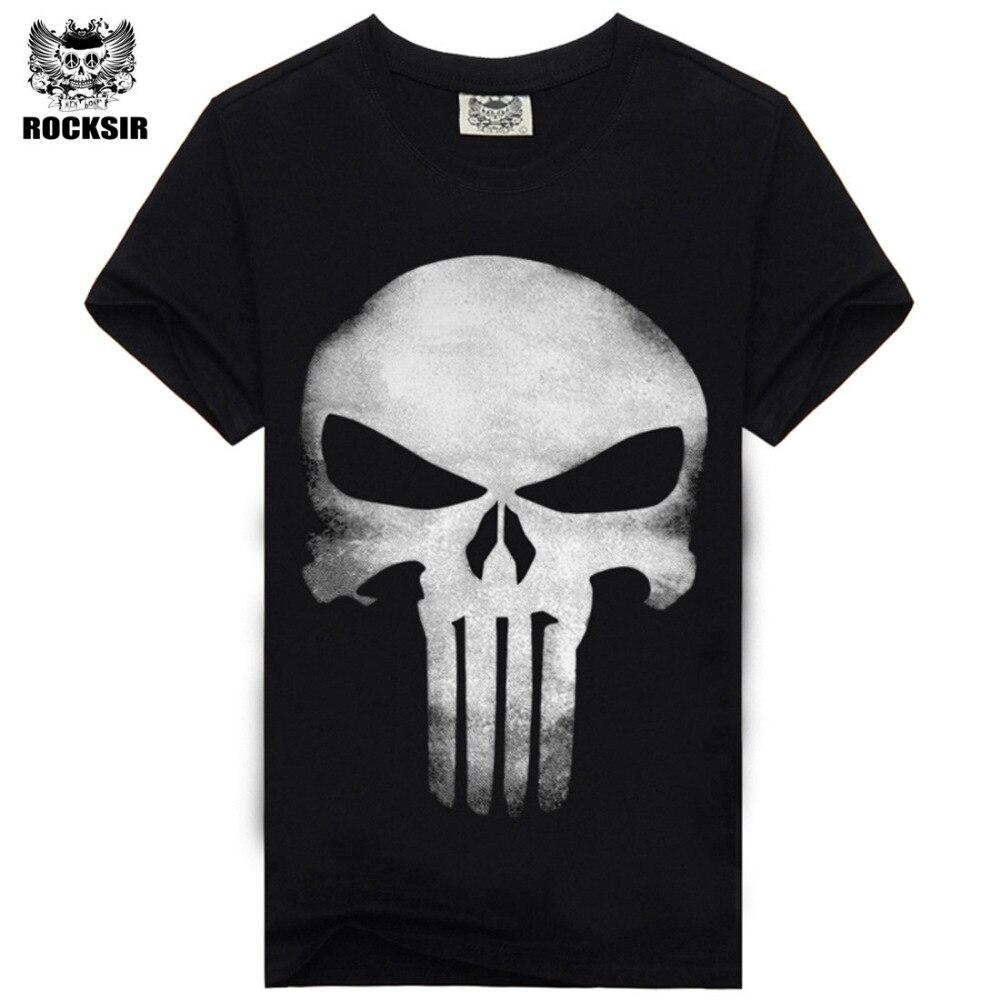 Camisa de algodão da marca da forma t camisa masculina casual de manga curta o punisher camiseta