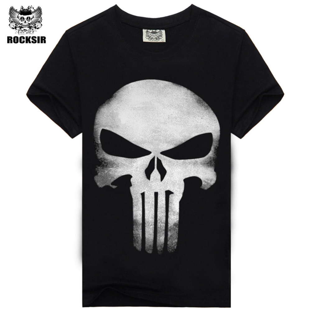 Rocksir punisher t-shirts för män t-shirt Bomull mode märke t-shirt män Casual Short Sleeves punisher T-shirt herrar