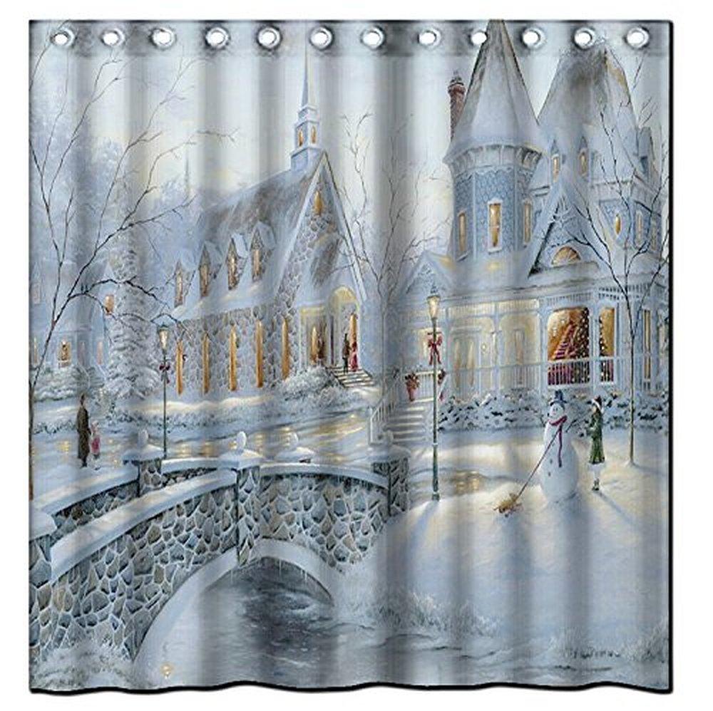 Winter shower curtain - Saxon Case_best Christmas Gift Iel Ordf Winter Shower Curtain_100 Polyester Fabric Standard Size Custom
