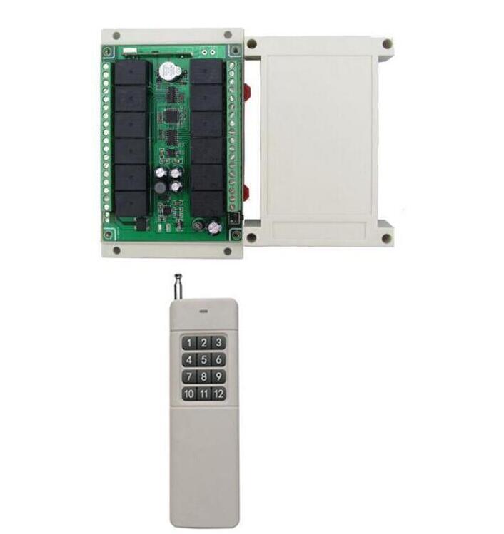 Smart hoem DC12V 12 CH 12CH RF Sans Fil Système de Commutateur de Commande À Distance, émetteur Récepteur pour porte de garage porte Led appareils