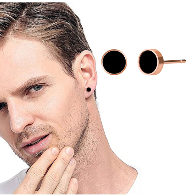 Popular 6mm Rose Gold Color Round Shape Stud Earring Discount Wholesale Stainless Steel Material Earring Jewelry For Men