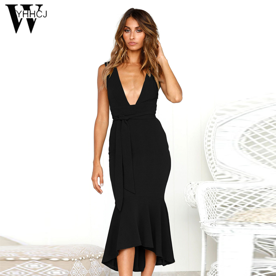 WYHHCJ Summer Dress 2018 Sexy Women Solid Sheath Spaghetti Strap Backless Dress Mid-Cart Black Deep V Casual Dresses