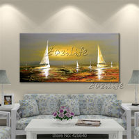 Canvas oil painting Yacht ship sailing boat Hand painted modern abstract Wall art Pictures for living room home decor wall decor