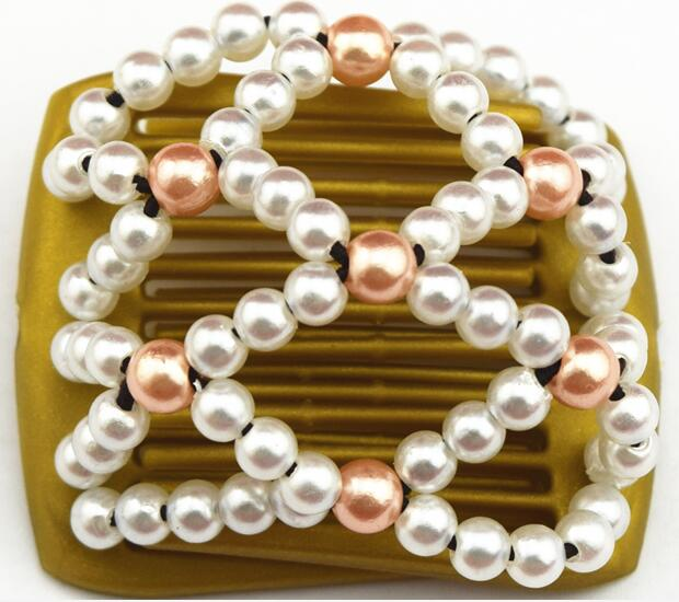 Small Size Beads: White Shining Pearl Beads Small Size Golden Magic Comb 20