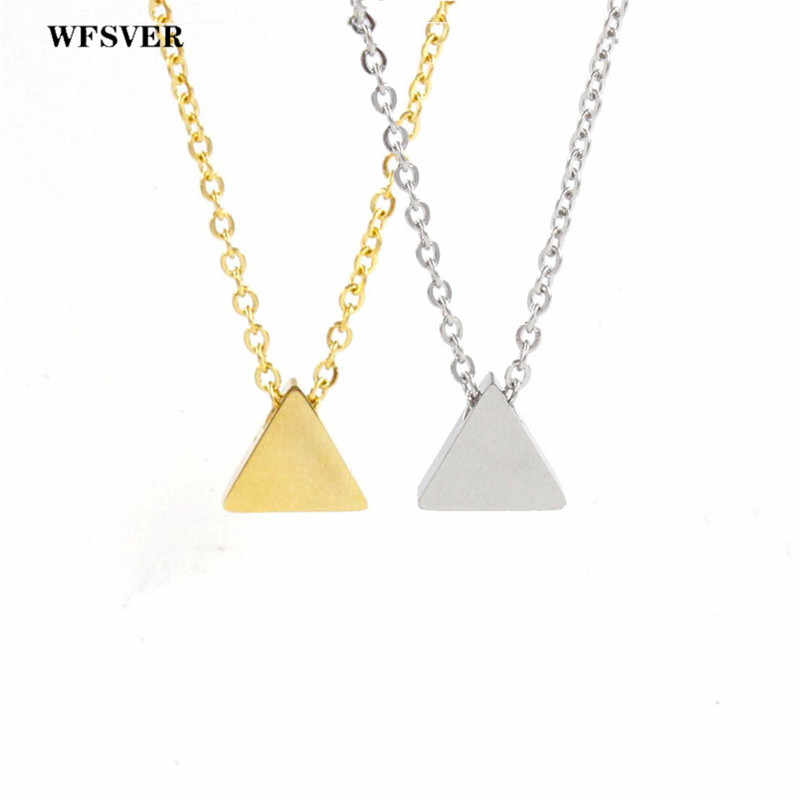 WFSVER 2019 Silver Gold Jewelry Female Punk Triangle Simple Retro Long Chain Pendant Necklace Women Stainless Steel Necklace