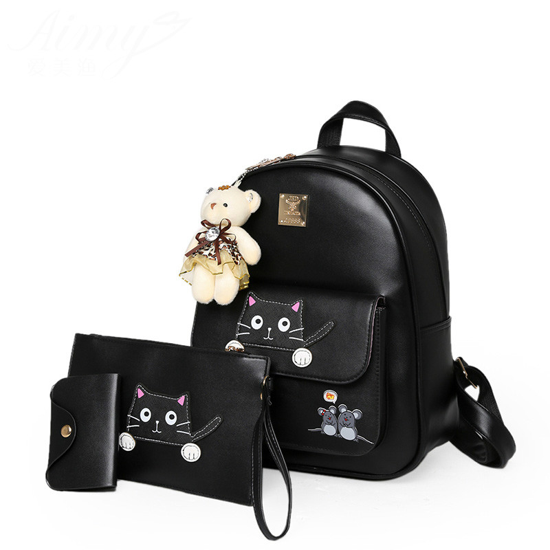 2017 Favocent Brief Picture Package Three Pieces PU Leather Backpack Women Cute Cat Backpack Fashion School
