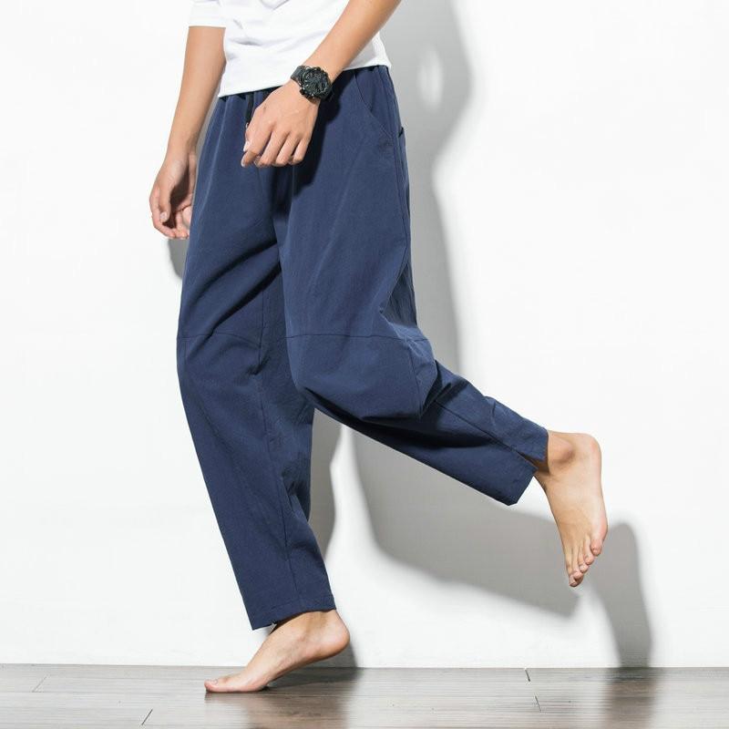 Summer Vintage Blue Men Casual Harem Pants Drawstring Loose Plus Size 4xl 5xl Long Wide Leg Pants Sports Beachwear Trousers Male