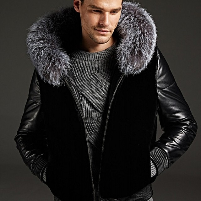 8397738b459 Top Brand Mens Pu Leather Motorcycle Jacket Faux Fur Coat Fur Trim Hooded Winter  Warm Overcoat Classic Black European Large Size