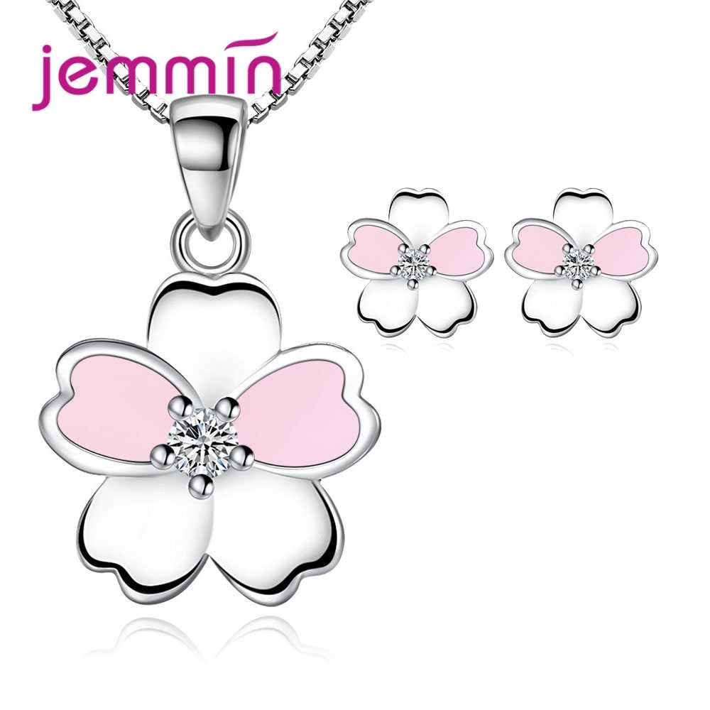 Factory Sale Solid 925 Sterling Silver Jewelry Sets for Women Girls Gifts Enameled Pink Flower Stud Earrings Pendant Necklace