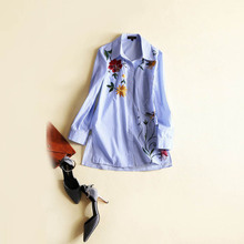 Fashion woman's casual loose blue stripe shirt 2017 spring flower embroidery cotton blouse S-L size