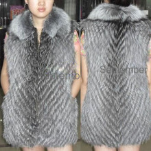 100% GENUINE LADY LONG SILVER FOX FUR VEST WAISTCOAT sleeveless Jacket Coat Girl WOMEN with zip good price Top quality Wholesale