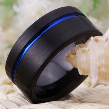 10mm Black Brushed Effect TungstenWith Blue Offset Groove 2