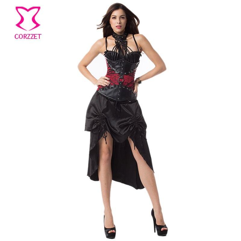 Červená a černá ohlávka ocel vykostěná korzet šaty gotické oblečení Korzet Feminino Espartilhos Sexy Steampunk kostým