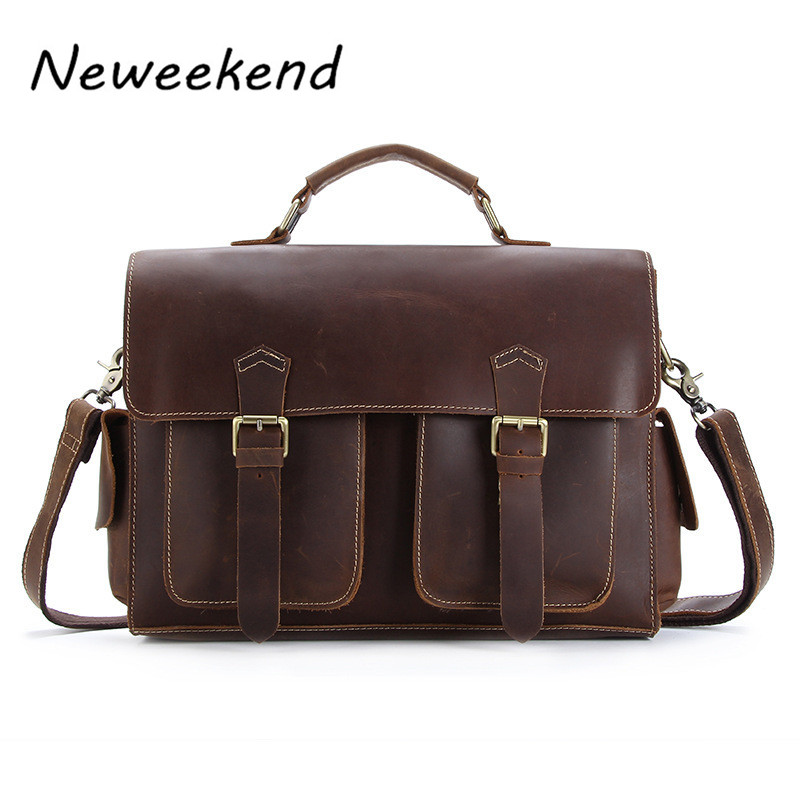 NEWEEKEND 1005 Vintage Genuine Leather Crazy Horse Large 4 Pockets Camera Crossbody Briefcase Handbag laptop iPad Bag for Man neweekend 1005 vintage genuine leather crazy horse large 4 pockets camera crossbody briefcase handbag laptop ipad bag for man
