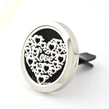 Love Heart Car Perfume Locket 35mm 316L Stainless Steel Round Shape Magnetics Amoratherapy Diffuser Lockets