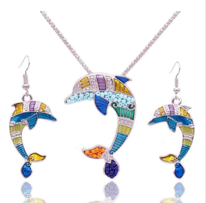 2016 Summer Enamel Dolphin Jewelry Sets For Women Gold Color Animal Dolphin Necklace Earring Set Unique Ethnic Sea Jewelry
