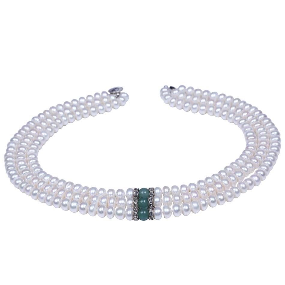 98d554387d34 8-9mm botón forma perlas de agua dulce con cuentas de tres capas collar de  piedra verde