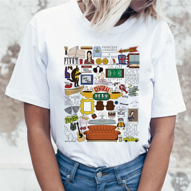friends tv show t shirt tshirt top tee shirt women female femme ulzzang t-shirt Harajuku Casual Vintage Printing Funny girl image