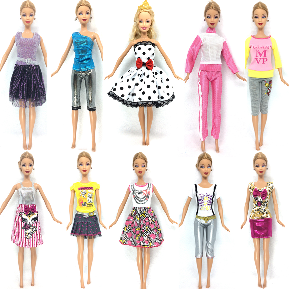 NK 10 Set 2018 Newest Princess Doll Outfit Beautiful Party Clothes Top Fashion Dress For Barbie Doll Best Girls' Gift Baby Toys free shipping 5set 5 clothes 5 trousers jacket outfit pants outwear suit set coat for barbie doll dress clothes gift set