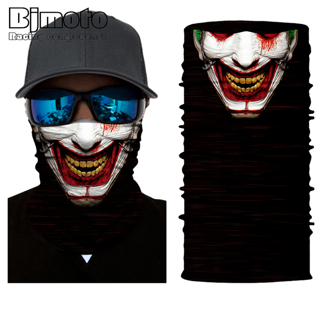 BJMOTO Cool Skull Magic Head Face Mask Multi Wear Tube Bandana Durag Biker Motorcycle Scarf 5
