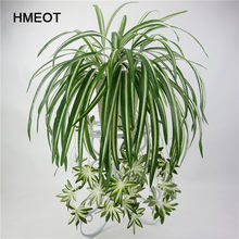 Decoración de pared de plantas artificiales para el hogar, decoración de jardín de 65cm, 5 cabezas, plantas verdes de Chlorophytum colgantes, hojas de simulación de flores falsas de PVC
