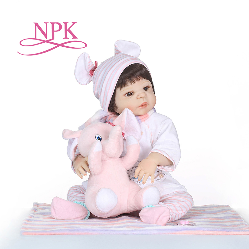 NPK 55CM Soft Silicone Reborn Baby Doll Girl Toys Lifelike Babies Boneca Full VInyl Fashion Dolls Bebe Reborn Menina Kids Toys npk black skin full silicone girl pacifier model baby dolls 56cm lifelike reborn baby boneca can enter water bath doll toys