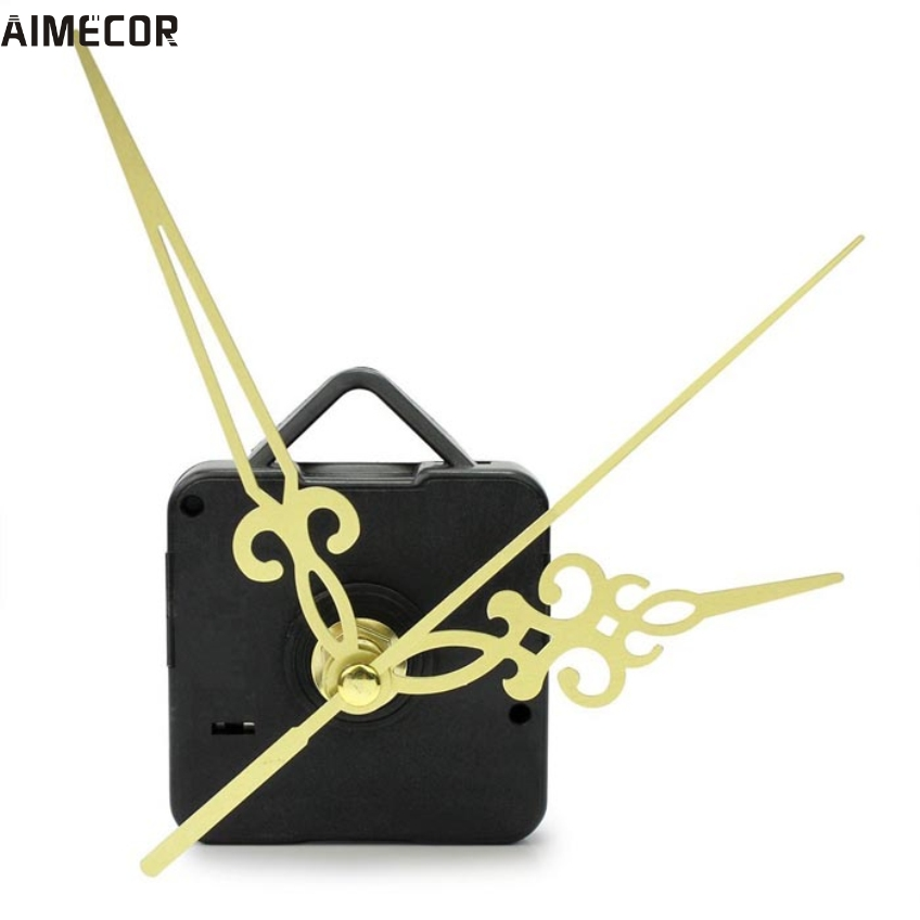 Aimecor 1PC Happy Gifts Black Fashion Simple Gold Hands DIY Quartz Wall Clock Movement Mechanism Replacement # dropship