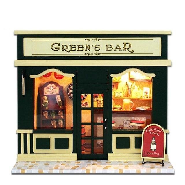 DIY Wooden Miniatura Doll House Room Box Handmade 3D Miniature Dollhouse Wood Educational Toys Girl Gifts -Europe Shop Cake Love