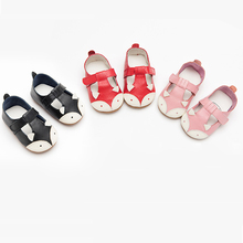 Angelatracy 2019 New Arrival Soft Infant Genuine Cute Girl Leather Baby Shoe Non-slip Hollow Out Fox Toddler Sandals