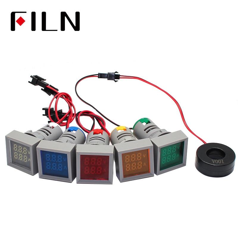 Durable LED Digital Isplay Voltmeter Indicator Light 22mm Big Font Di Aperture Signal Lamp AC60-500V High Quality For Boat