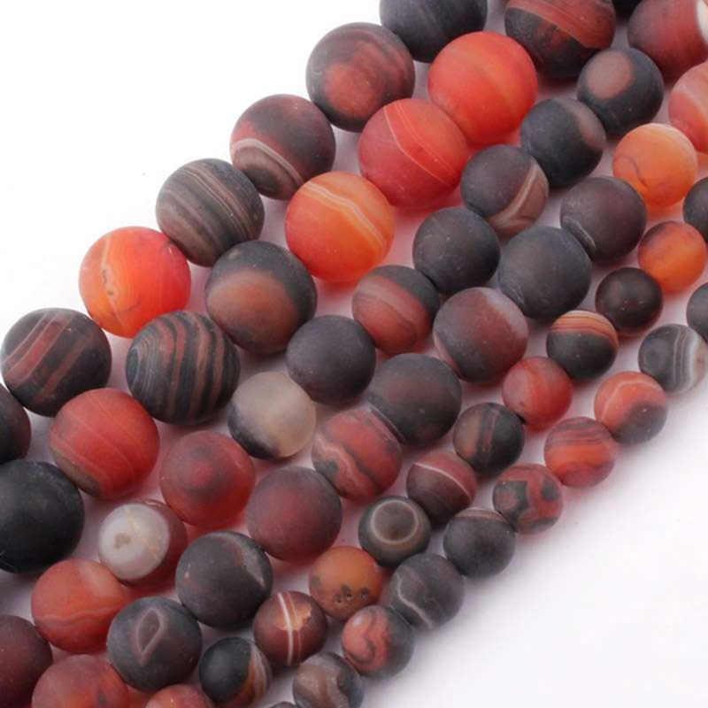 """15 """"нитка натуральный камень Бусины матовый красный полосатый Агаты круглые свободные бусины для изготовления ювелирных изделий ожерелье браслет 4-12 мм"""