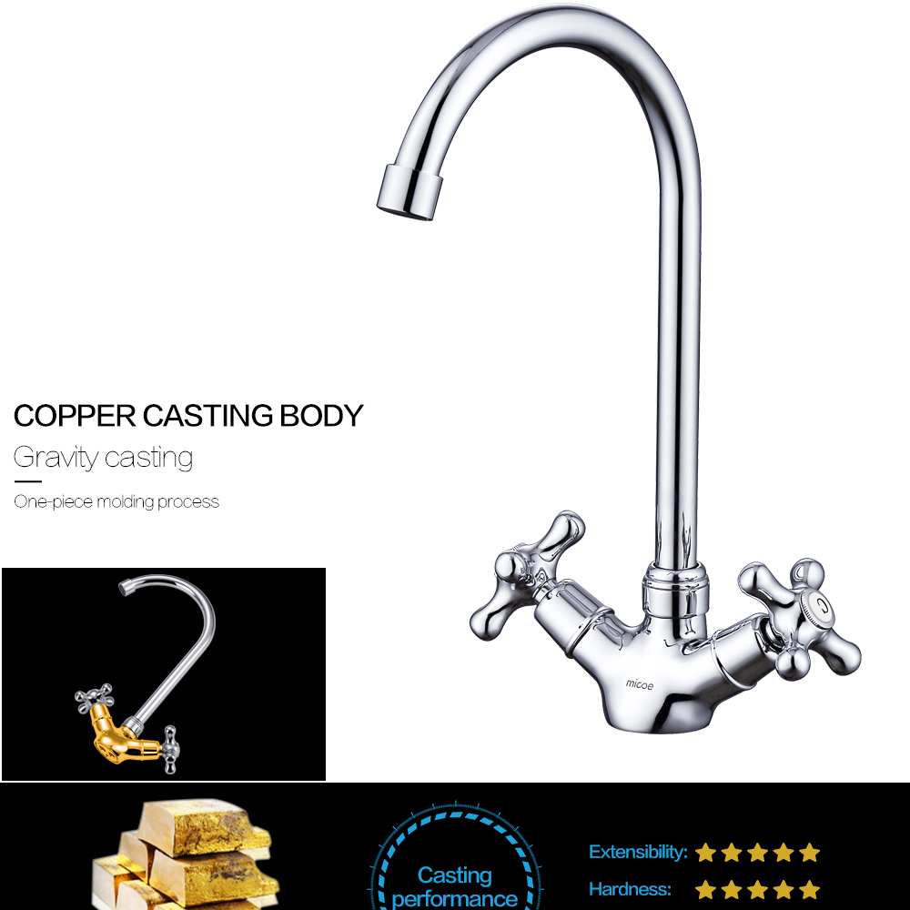 Micoe Kitchen Faucet Kitchen Taps Sink Mixer Taps Deck Mounted Chrome Polished Basin Faucet Hot Cold Water Swivel Mixer H HC117 in Kitchen Faucets from Home Improvement