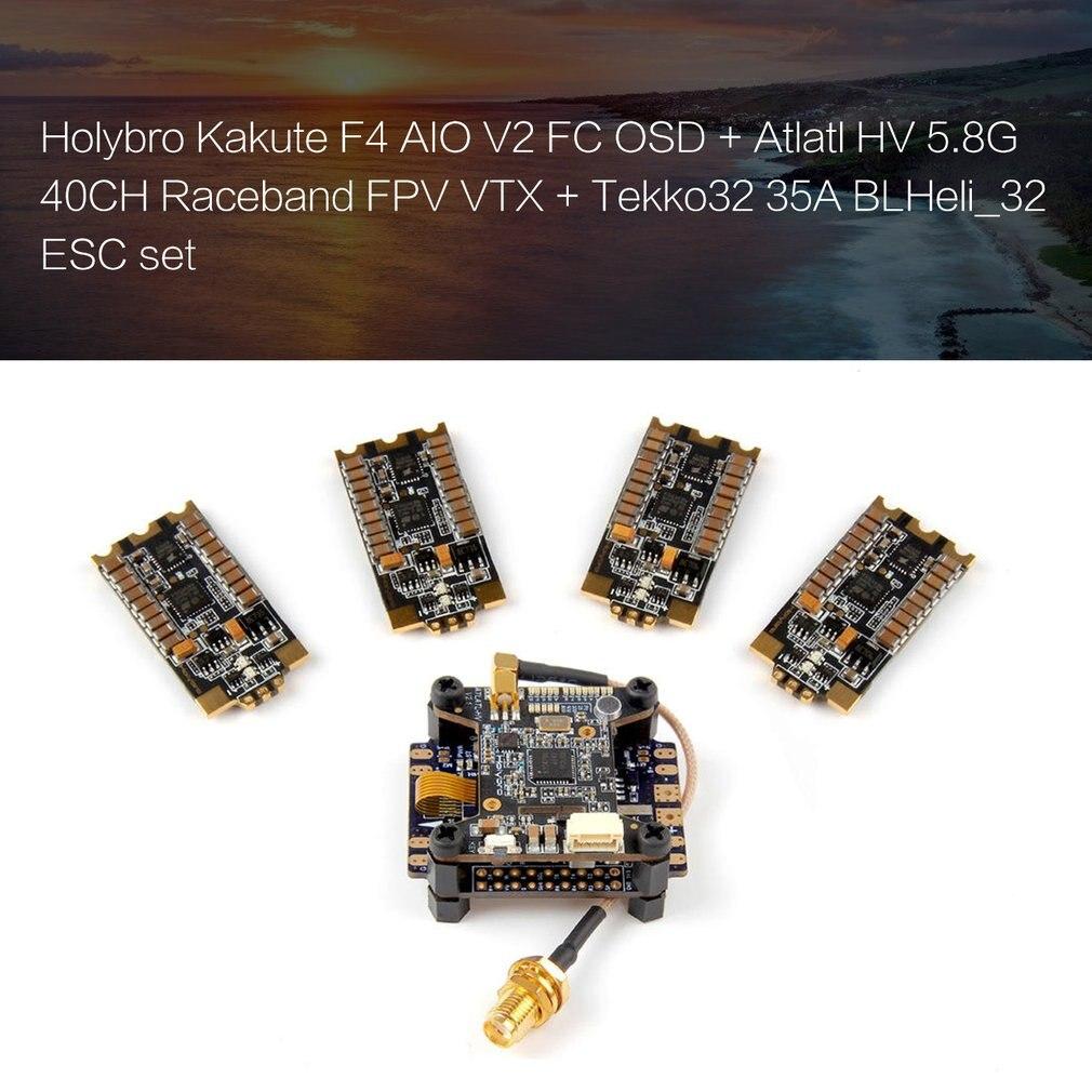 Holybro Kakute F4 AIO V2 FC OSD + Atlatl HV 5.8G 40CH Bande DE COURSE FPV VTX + Tekko32 35A BLHeli_32 ESC RC drone de course quadrirotor
